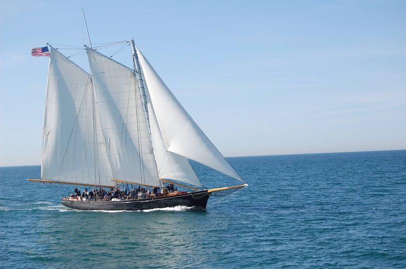 Yacht America in the Ocean