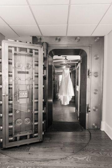 Dress hanging on vault door