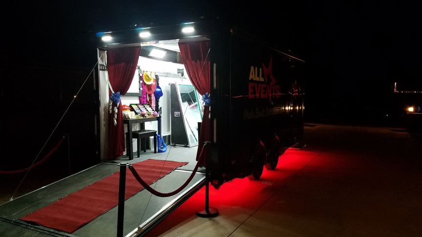 Photo booth trailer at night! All lit up and ready for a fabulous fun time inside! Check out that...