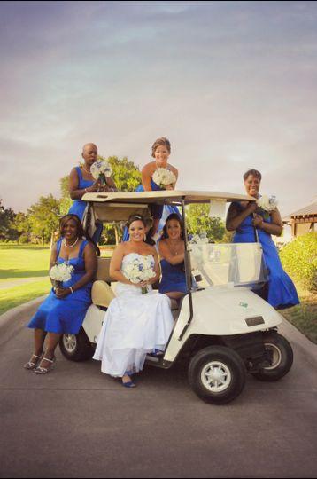 Photo shoot on a golf cart