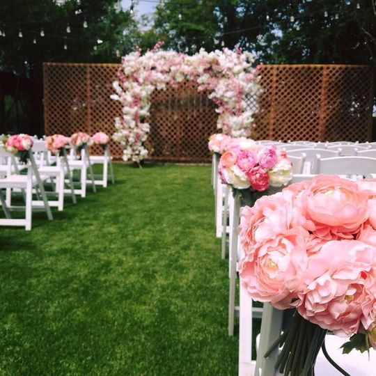 Floral decorations at the ceremony location