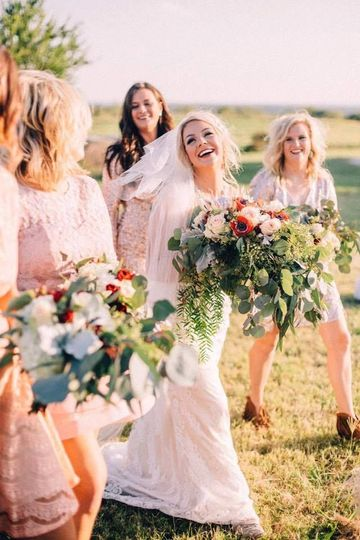 An excited bridal party