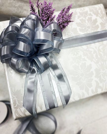 Shower gift with ribbon and florals