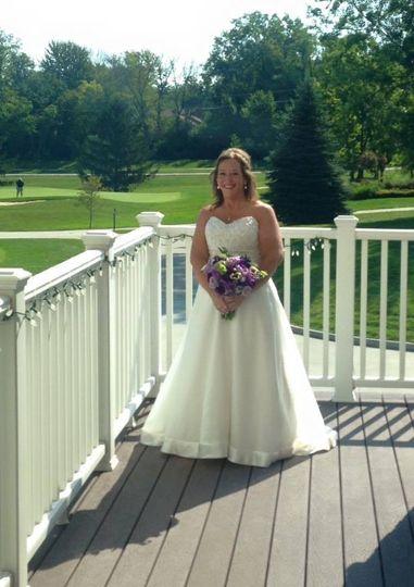 Bride by the porch