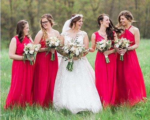 Union Station bridesmaid dresses in Poppy.