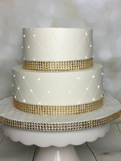 Lemon cake with raspberry filing, edible diamond details