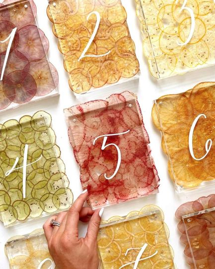 Fruit paper table numbers