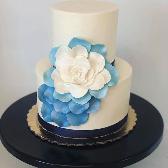 Ombre blue petal burst cake