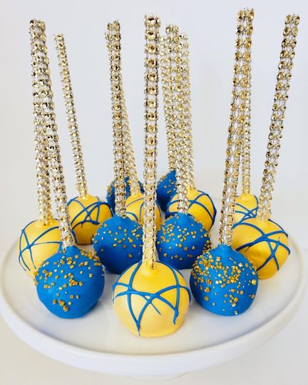 Blue and gold bling cake pops