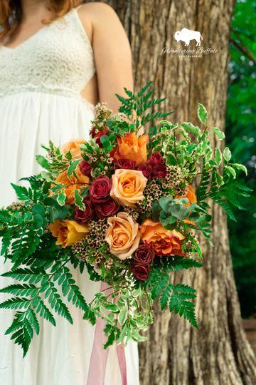 Fiery floral arrangement