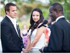 Bahamas wedding ceremony with wedding officiant Glenn Ferguson at Atlantis Resorts Paradise Island
