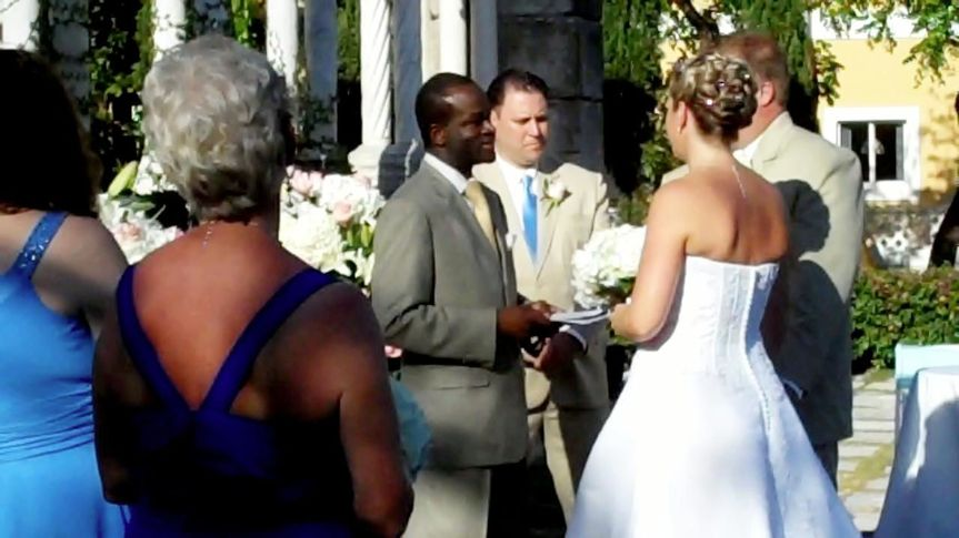 Bahamas wedding ceremony with wedding Officiant Glenn Ferguson at The Cloisters Ocean Club Paradise...