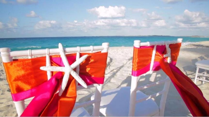 Wedding ceremony with Bahamas wedding officiant Glenn Ferguson on Cabbage Beach Paradise Island...