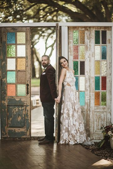 First look by ceremony doors
