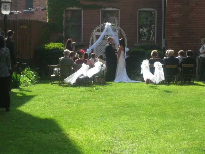 Outdoor courtyard ceremony