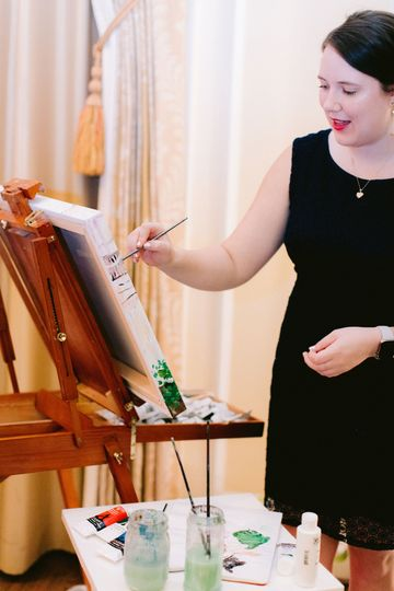 Sarah during a live painting session