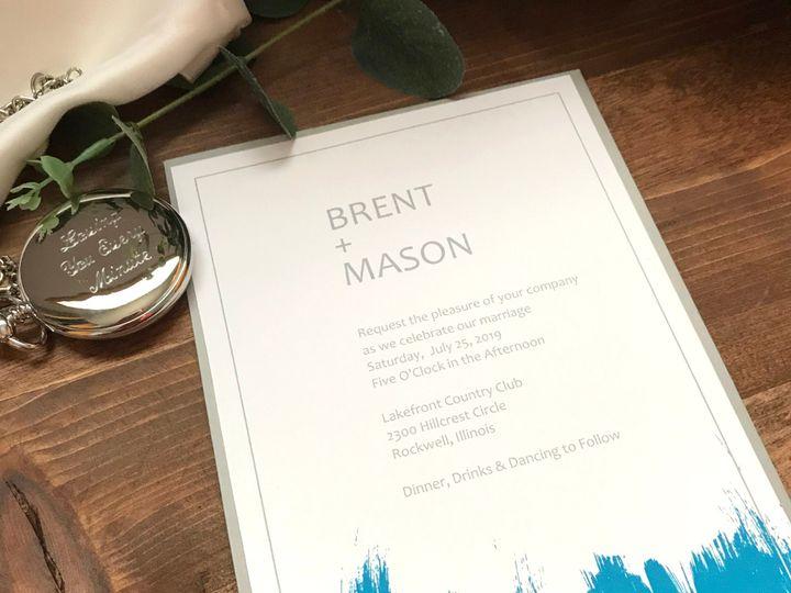 Tmx Brush Strokes Teal 51 1894045 159093760184348 Davenport, IA wedding invitation