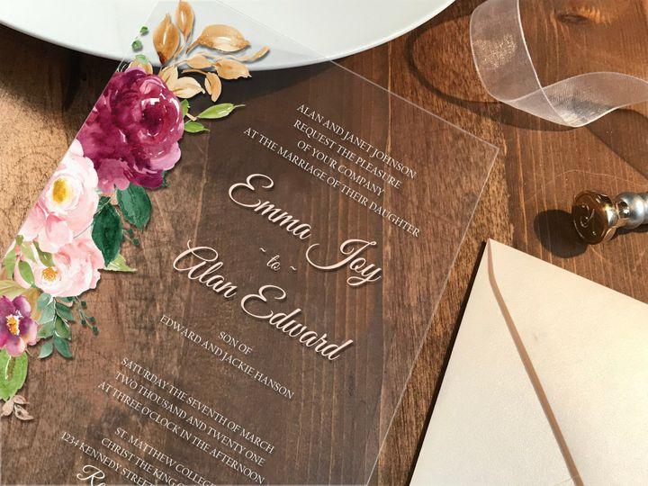 Tmx Clear Inv On Wood Saffron Side 51 1894045 159054453228787 Davenport, IA wedding invitation