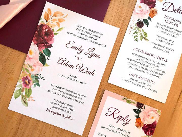 Tmx Saffron Side Inv Wood Set2 51 1894045 159052565615934 Davenport, IA wedding invitation
