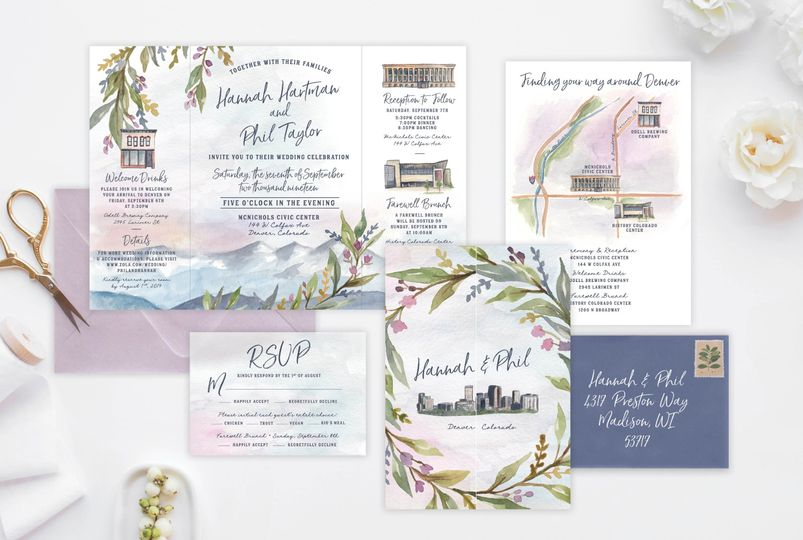 Gate fold invitation suite