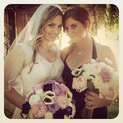 Bride, Lauren, and Maid of Honor, Katie, at the Westlake Village Inn.