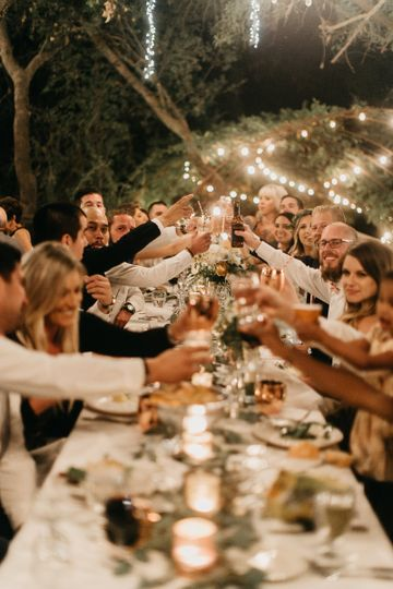 Cheers to Danielle & Mike at the Calamigos Ranch in Malibu.