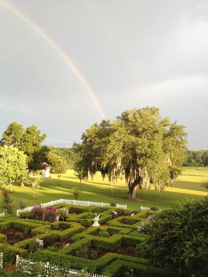 Rainbow over the fields and maze