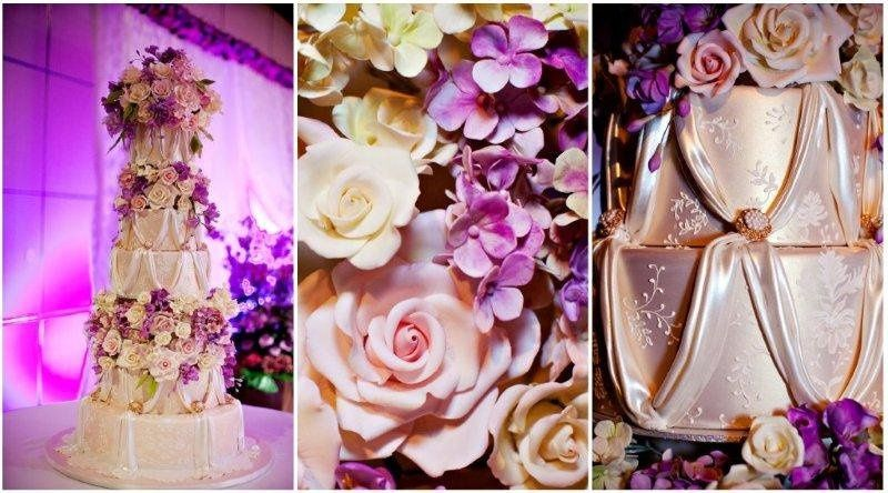 Ana Parzych Custom Cake  Round cake tiers finished in champagne luster dust and embellished with...