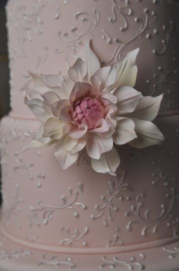 Ana Parzych Custom Cake  Pink fondant tiers embellished with delicate piped scrolls and adorned with...