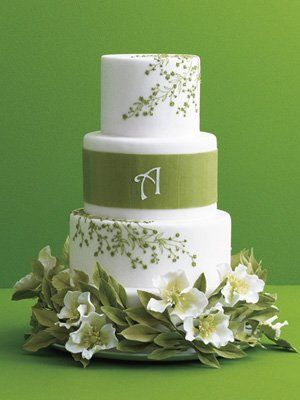 Ana Parzych Custom Cakes   Round butter cream and Swiss fondant finished white tiers featuring...