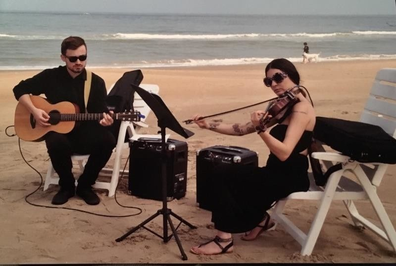 Wedding musicians on the beach