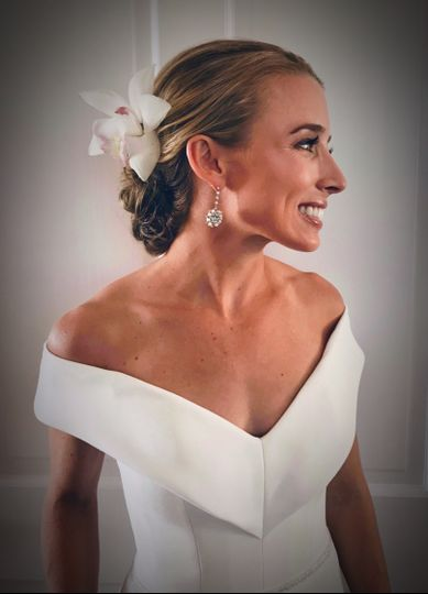 Bridal full updo with makeup