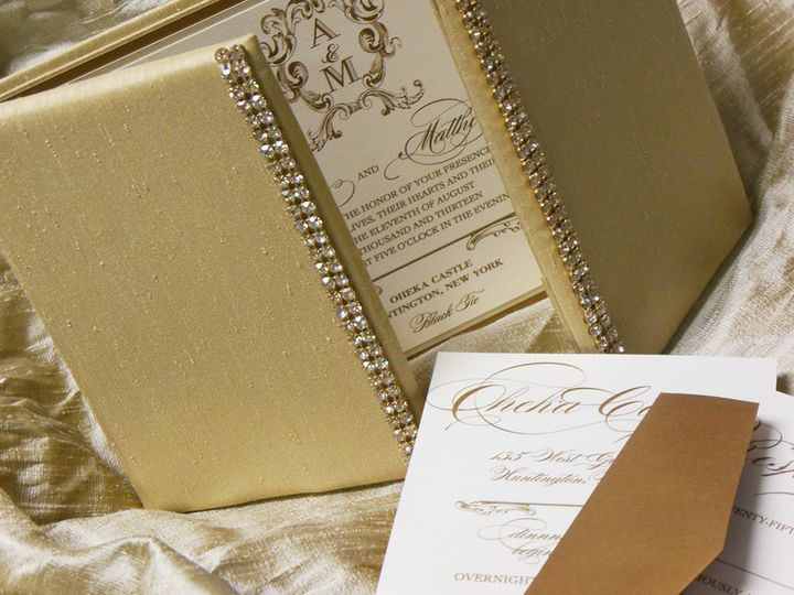 Custom silk shantung folio in Champagne with iridescent crystal banding on opening panels....