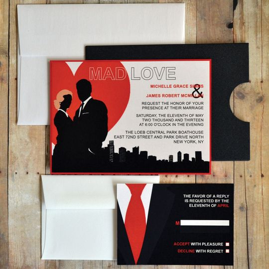 "Mad Love Wedding Invitation ""Mad Men theme"""