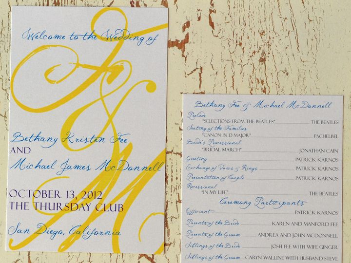Tmx 1368391824237 Initial  Program San Diego wedding invitation