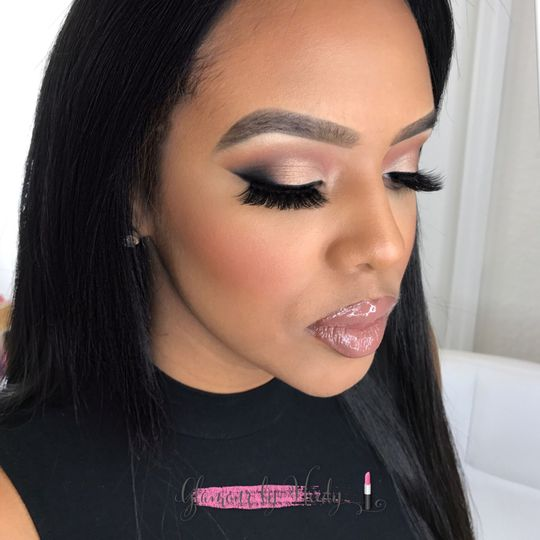Smokey eye with glossy lip