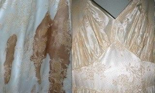 Before and After Restoration by National Gown Cleaners, LLC