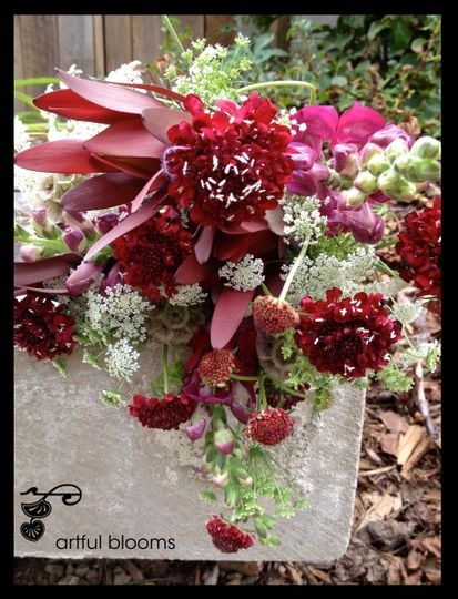 Playful bouquet with a Pop of Color and raspberry scabiosa, burgundy snapdragons, Queen Anne's Lace...