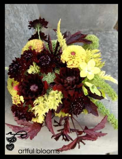 Nature Inspired bouquet with antique yellow zinnias, nicotinia, chartruese celosia, burgundy...