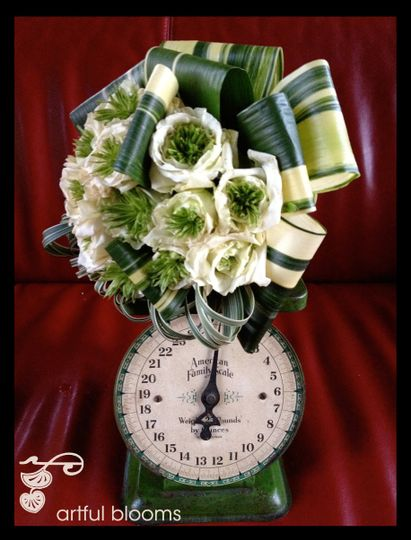 All-Natural, Charming Vintage Floral Elements, bouquet with green eyed roses, aspidestra leaves and...