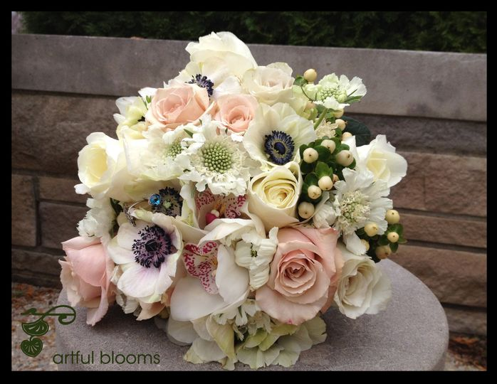 Beautiful, charming modern vintage style bouquet with white scabiosa, hypericum, anenomes, garden...