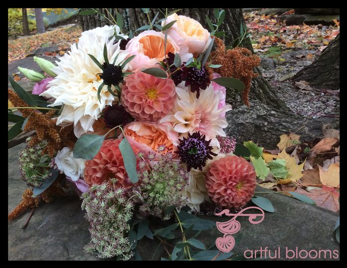 Bountiful, romantic and timeless bouquet with cafe au late dahlias, ebony scabiosa, black Queen...