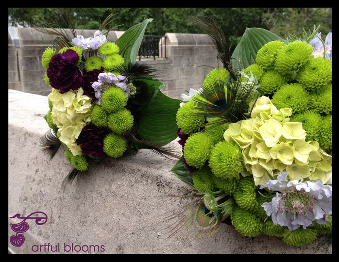 Unique, bold and modern bouquets with green kermits, deep purple fancy carnations, green hydrangea,...