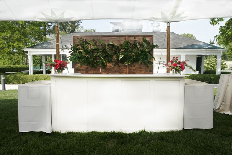 Shelly bar and fruitwood backdrop