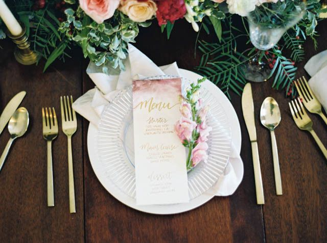 Gold flatware with our white ming dinner plates and glass ridged salad plate