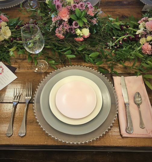 New heirloom china and pewter flatware