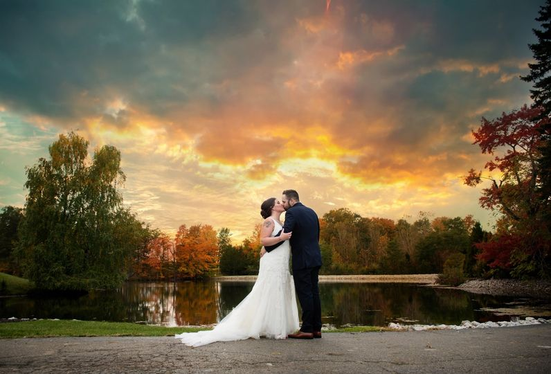 Fall wedding sunset photo