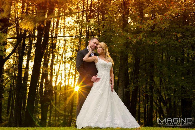 Real sunset wedding at farm