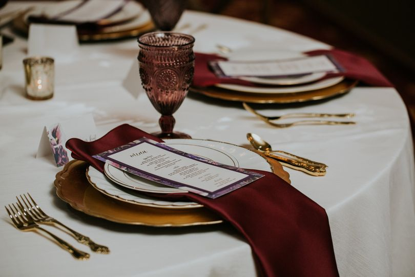 Deep red table napkin