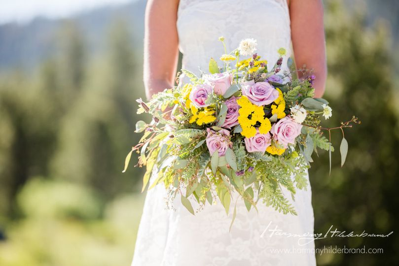 Wildflower Bridal Bouquet Yarrow, Lavender, Lavender Roses Floral by A Floral Affair Photo by...
